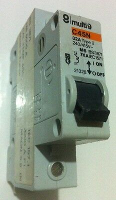 Merlin Gerin 32 Amp / 32A C45N Single Pole/Phase Circuit Breaker M6 Type 2 Mcb