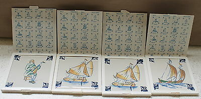 SET OF 4 KLM BUSINESS CLASS COLLECTABLE TILES, 3 Ships and 1 Handcraft