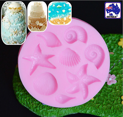 Sea Shell Starfish Snail Conch Shell Fondant Cake Mold Chocolate Mould HKIM60605