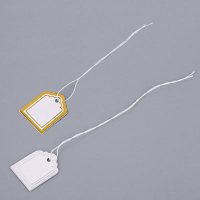 Square Shape 100 Pcs Price Tags With String Silver/Golden Store Accessories L