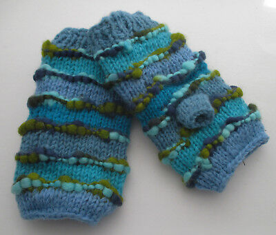 Nepal-Wool-Finger less Hand-warmers /Gloves / Winter, Ladies & Mens Hand knitted