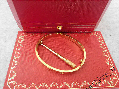Authentic new CARTIER Love 18k yellow Gold Bangle Bracelet Size 16