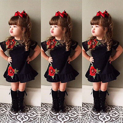 Toddler Kids Infant Baby Girl 3D Flower Summer Party Dress Sundress Clothes 0-4Y