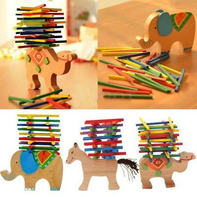Baby Kids Early Wooden Elephant Camel Balance Game Balancing Blocks Toys FW