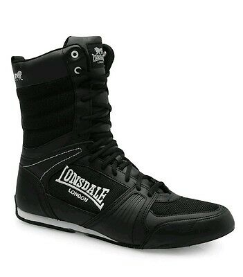 Lonsdale Contender Boxing Boots Mens Black White Trainers Sneakers Gym Shoes UK9