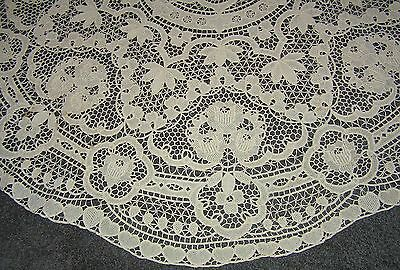 Vintage Round Point de Venise Needle Lace Tablecloth Ecru Cotton Round Heart 62""