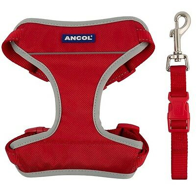 Ancol Dog Padded Car & Walking Harness Travel Seatbelt Clip Lead Safety - Red
