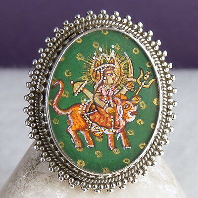 DURGA Miniature Painting Ring Size US 4-10 SilverSari Solid 925 Sterling Silver