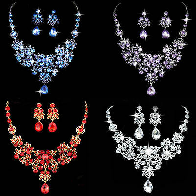 Bridal Wedding Party Crystal Rhinestone Diamante Necklace Earrings Jewelry Sets