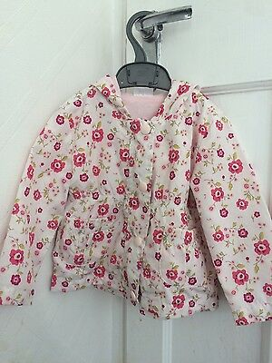 Girls hooded lightweight pink white floral raincoat jacket mac 12-18months