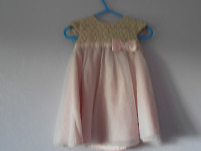 Baby girls pink and gold dress from George 6-9 months