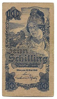 10 Shilling Austria banknote,ND(1945) WWII , F-F++