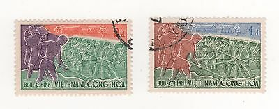"1959 South VIETNAM 4th anniv Republic "" TILLING THE LAND ""  x 2 to 2p. fv USED"