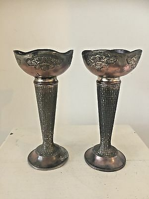 Pair Of Early Oriental Japnese Antique Copper Brass Metal Spill Vases