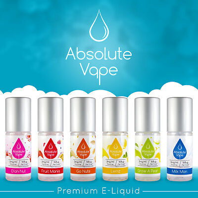E Liquid E Juice MAX VG Absolute Vape ® 6x10ml UK Made Nicotine 12 6 3 mg 0 ecig