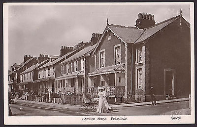 Felixstowe, Suffolk. Hamilton House. Fine Ladies Pushing Pram. Vintage RPPC