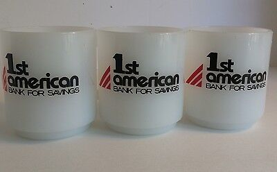 Vtg Glasbake Milk Glass Lot Of 3 Mugs 1st American Bank For Savings White