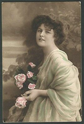 Glamour Lady With Flowers Vintage Carlton Printed Postcard