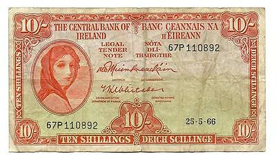 10 Shillings Ireland banknote , ND(1966), Lady Lavery banknote, orange, P-63a