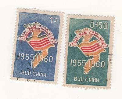 1960 South VIETNAM 5th Anniversary of Republic FLAG x 2 stamps to 2p. USED / CTO