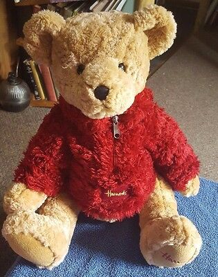 Large Harrods Teddy Bear Red Jumper Fleece Plush Stuffed Soft Toy 17""