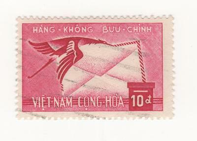 1960 South VIETNAM Air issue 10p. MAUVE Crane bird carrying letter SG#S129 USED