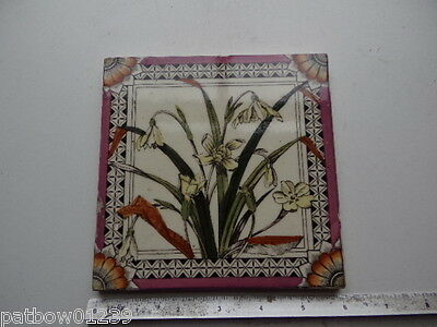 "ANTIQUE Victorian Ceramic Wall Tile SNOWDROPS PRIMROSES 6x6"" Hand Painted Glazed"