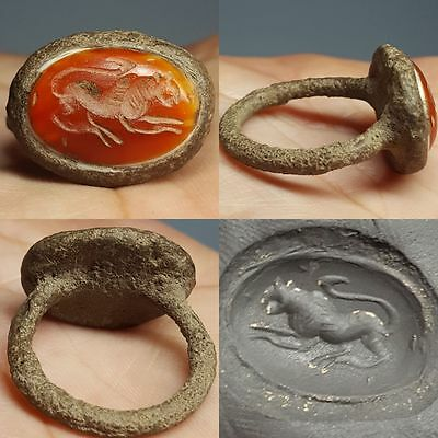 medieval type  Lion Agate Stone   Bronze ring