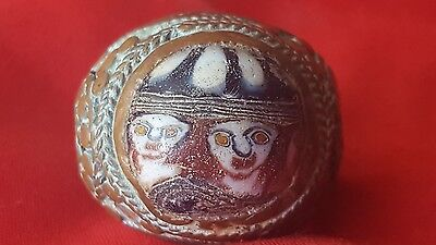 Mosaic Face  Glass Bronze Ring