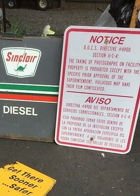 RARE Retired BY DOCS NOTICE SIGN DIRECTIVE 4900 from prison in Attica NY have 2
