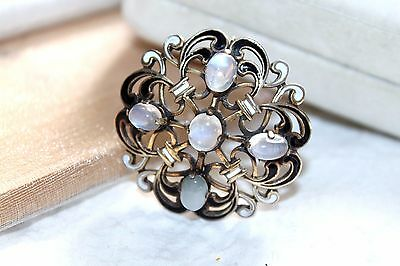 VICTORIAN Antique 800 Silver MOONSTONE & ENAMEL Scroll Brooch Pin
