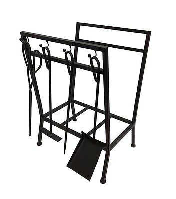 Matte Black Metal Wood Holder With Fire Tools