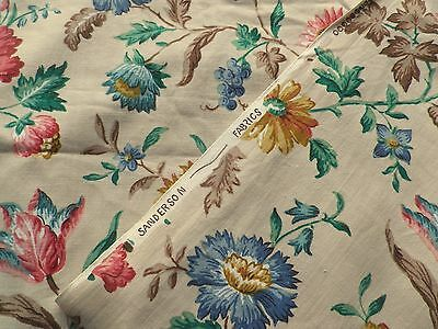 Vintage 1930's Narrow Width Sanderson Cotton Interiors Fabric Floral on Fawn
