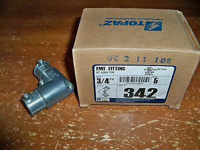 """LOT OF 5 -- **TOPAZ 342** -- 3/4"""" EMT Fitting -- Quickie 90 JC-2 -- New In Box"""
