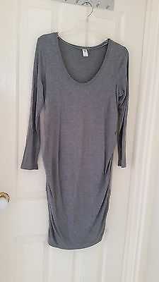 Grey Long Sleeve Scoop Neck Relaxed Stretch Maternity Dress Old Navy Size 8-12