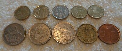 10 Coins from Spain. 1950's to 1990's