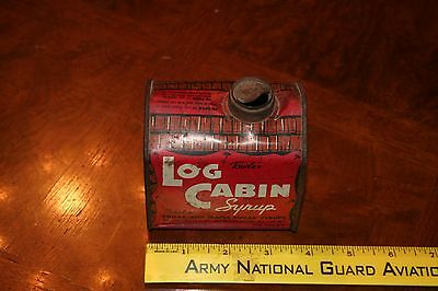 Vintage Log Cabin Syrup Tin General Mills Towels Tin Litho Can