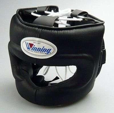 New Winning Boxing Headgear FG-5000 Size L Full Face Type Black Fast Shipping