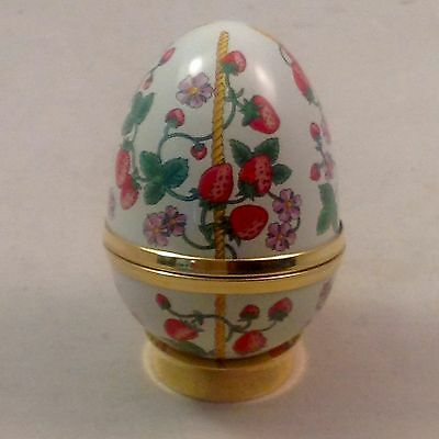Crummles Enamel Trinket Box Egg Shaped with Stand Strawberries Boxed Excellent