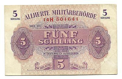 5 Shilling 5/ Austria - Allied Military banknote WWII,ND(1944),P-195 , Lilac