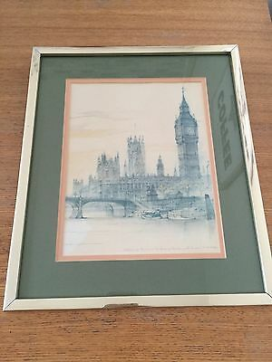 London Westminster Bridge And The Houses Of Parliament Drawing Print