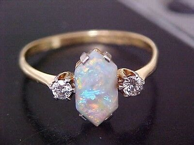 Beautiful Antique ,18 Ct Gold  Fiery Opal And Diamond Set Ladies Ring, ! ,size Q