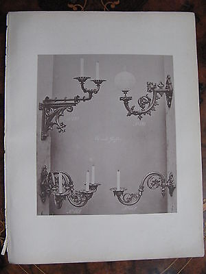 Candle  Wall Sconce Light Fitting   c1870 Photogravure