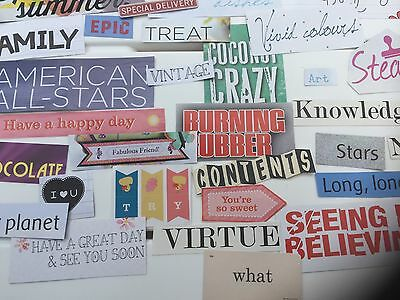 NEW 30 words/phrases. Ephemera,Scrapbook,Confetti,collage, school, card making