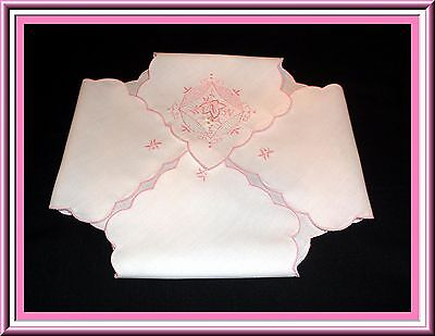 Beautiful Vintage Embroidered Bread Cozy Pink Flowers