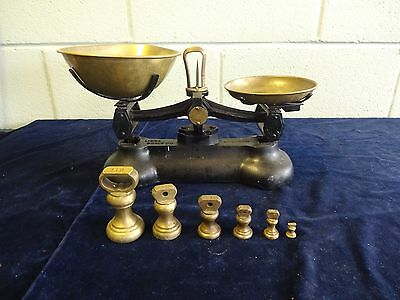 Vintage Libra Scales Co England Cast Iron Scales Brass Pans 6 Brass Bell Weights
