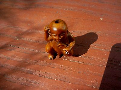 Antique Japanese Carved Boxwood Netsuke Artist Signed Nude Man Sculpture Rare