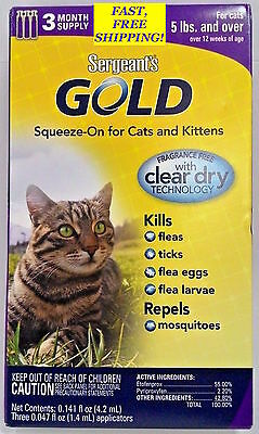 Sergeant's Gold Squeeze-On For Cats & Kittens 3 Month Supply Repels Fleas, Ticks