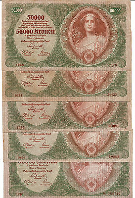 Austria : 5 Very scarce 50 000 Kronen 1922 (one is with star before number)