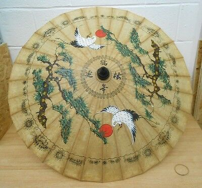 Vintage Oriental Parasol - bamboo and paper - egret design - approx 95 cms diam